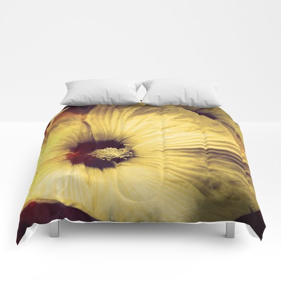 Yellow Flower in Smoke and Flames Comforters