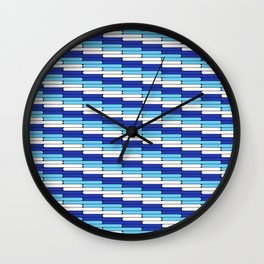 Staggered Oblong Rounded Lines Blues and White - Stripe Pattern Wall Clock