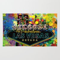 las vegas Area & Throw Rugs featuring Welcome to Las Vegas by Gary Grayson