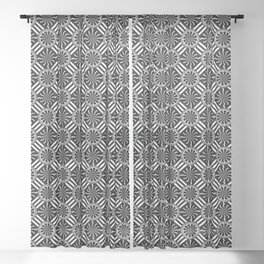 Wavy Black and White Pinwheel and Stripes Pattern - Graphic Design Sheer Curtain