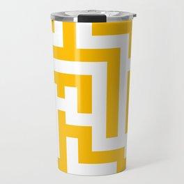 White and Amber Orange Labyrinth Travel Mug