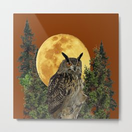 BROWN WILDERNESS OWL WITH FULL MOON & TREES Metal Print