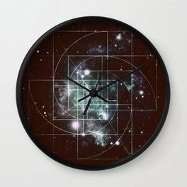 Galaxy Sacred Geometry: Golden Mean dark Wall Clock