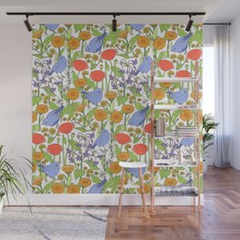 Birds and Wild Blooms Wall Mural