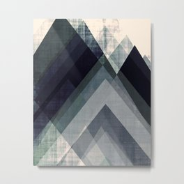 mountain art, geometric art, contemporary art print, modern art print, colorful wall art, midcentury Metal Print