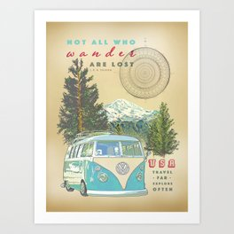 """""""Not all who wonder, are lost"""" vintage inspired print Art Print"""