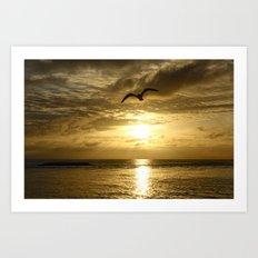 Flying over gold Art Print