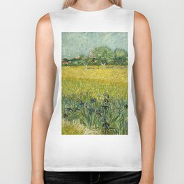 Field with Flowers near Arles by Vincent van Gogh Biker Tank