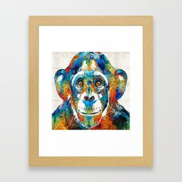 Colorful Chimp Art - Monkey Business - By Sharon Cummings Framed Art Print