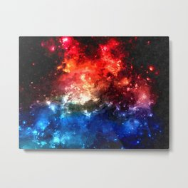 Colorful galaxy, blue and red nebula, space themed pattern, oil paint Metal Print