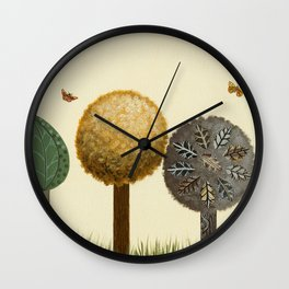 Autumn Butterflies Wall Clock