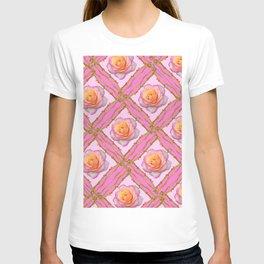 CREAMY  ROSES & RAMBLING THORNY CANES ON  PINK  DIAGONAL PATTERNS T-shirt