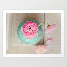 Pink ranunculus bouquet mint green vase Art Print