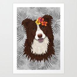 Tropical Brown Border Collie Girl Art Print