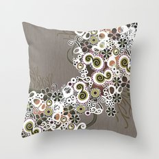 Diagonal flower – brown and olive green fiber Throw Pillow