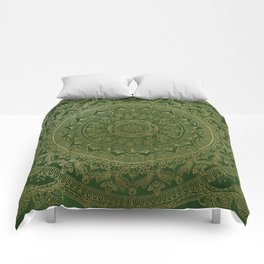 Mandala Royal - Green and Gold Comforters