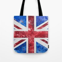 union jack Tote Bags featuring Union Jack by LebensART