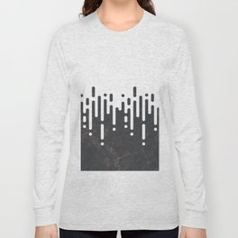 Marble and Geometric Diamond Drips, in Charcoal Grey and White Long Sleeve T-shirt