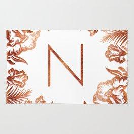 Letter N - Faux Rose Gold Glitter Flowers Rug