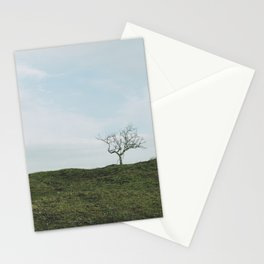 Just one tree on a green hill in a blue sky, fine art travel photography print Stationery Cards