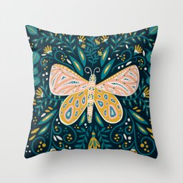 Butterfly Symmetry - Teal Palette Throw Pillow
