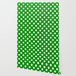 Islamic green - green - White Polka Dots - Pois Pattern Wallpaper