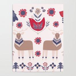 Scandinavian Winter Pattern Beige #society6 #buyart Poster
