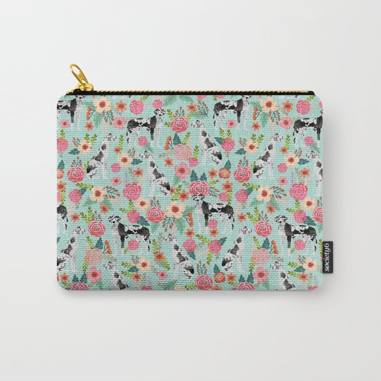 Great Dane dog breed florals mint pattern print for dog owner with great dane must have gifts Carry-All Pouch