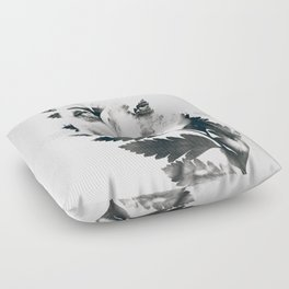 Portrait of woman(leaves) Floor Pillow