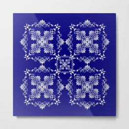 Baroque style blue texture/background Metal Print