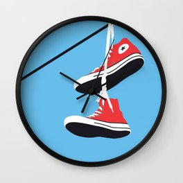 Sneakers on the Wire Wall Clock