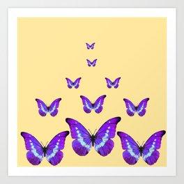 AMETHYST PURPLE BUTTERFLIES FLOCK CREAMY YELLOW Art Print
