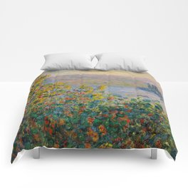 "Claude Monet ""Flower Beds at Vétheuil"" Comforters"