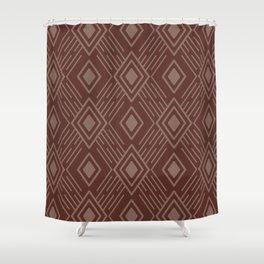 Terracotta Clay Tribal Diamond Grid Shower Curtain
