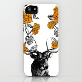 The Stag and Roses | Orange iPhone Case