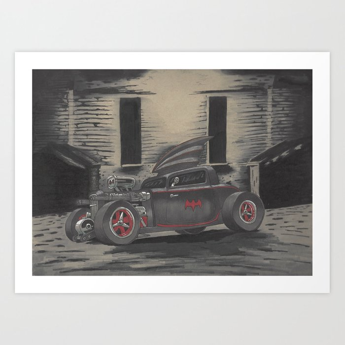 Hot Rod Batmobile  Art Print