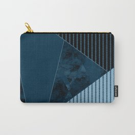 Valencia 3. Abstract, black, blue geometric pattern. Carry-All Pouch