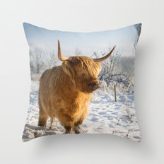 Highland Cow in the snow Throw Pillow