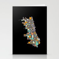 chicago map Stationery Cards featuring Chicago by BigRedSharks
