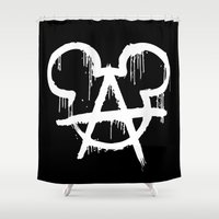 anarchy Shower Curtains featuring Anarchy Mouse by Rob Collinet