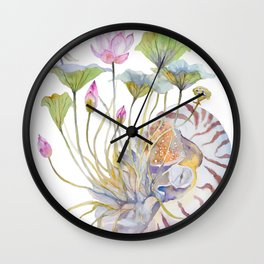 Nautilus and Lotus Surreal Watercolor Creature Wall Clock