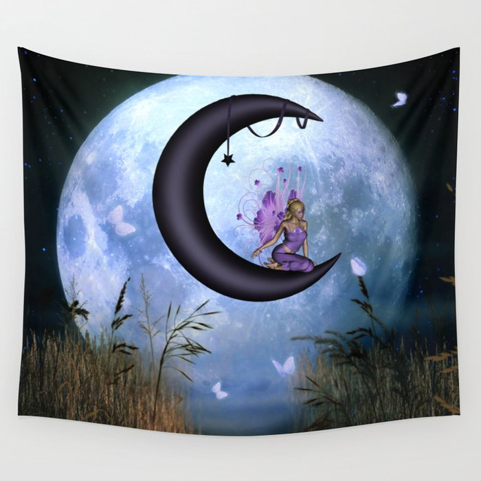Beautiful fairy sitting on the moon Wall Tapestry
