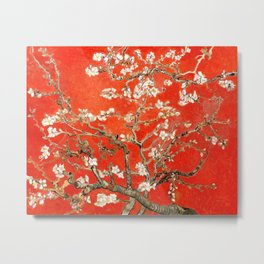 Red Almond Blossoms - Van Gogh (new color edit) Metal Print