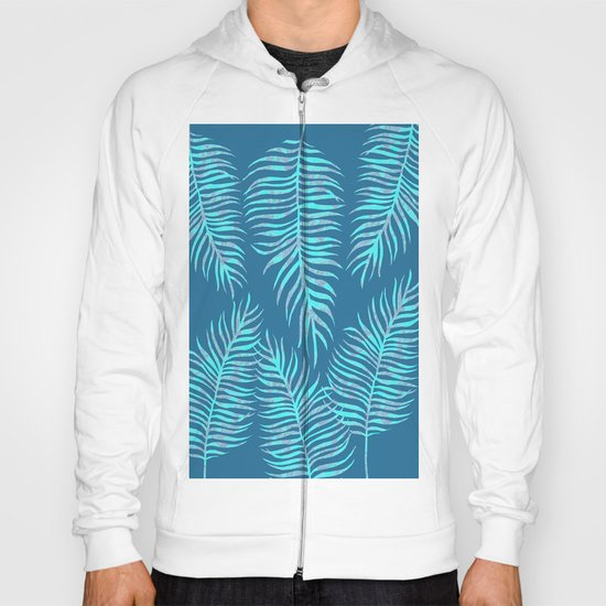 Fern Pattern On Blue Background Hoody