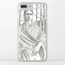 Frida Khalo and trees Clear iPhone Case