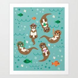 Kawaii Otters Playing Underwater Art Print
