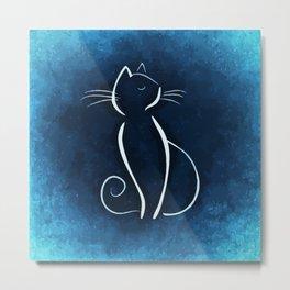 Cat on blue backgrond Metal Print