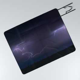 Summer Lightning Storm On The Prairie IV - Nature Landscape Picnic Blanket
