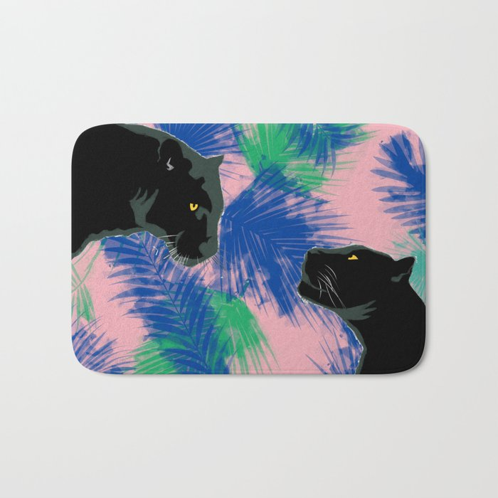 Panthers with palm leaves Bath Mat