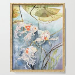 Koi Fish Painting, Underwater Water Lily Serving Tray